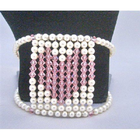 TB813 Valentine Gift Rose Crystals Heart At The Center Of Cuff Flexible Bracelet Handmade Jewelry