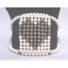 TB812  Ivory Pearls With Chocolate Brown Pearls Cuff Flexible Bracelet