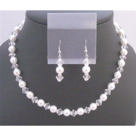 NS691  Bridmaids Jewelry Set Under $10 w/Clear Crystals&White Pearls Exclusive Fashionable
