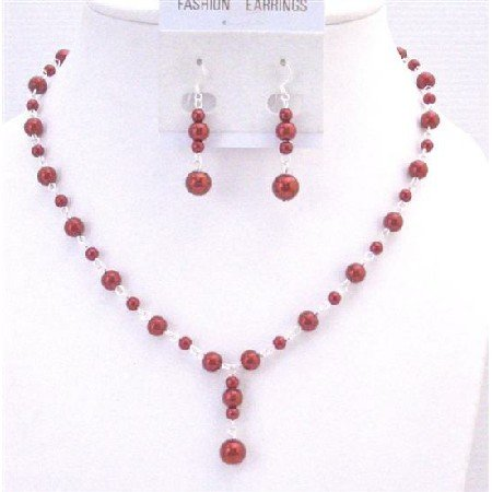 NS685 Valentine Red Jewelry Set Silver Chain Plated Red Dress Necklace Set Drop Down