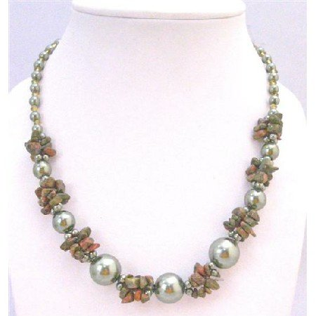 N796 Olivine Pearls With Olivine Nugget & Olivine Glass Beads Beautiful Necklace