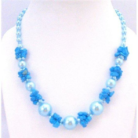 N795  Stylish Trendy Necklace Blue Blue Turquoise Nugget Chips Glass Beads Fancy Necklace