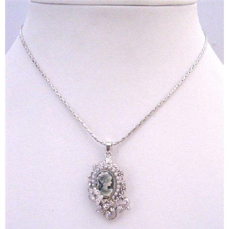N793  Cameo Jewelry New Color Grey Crystals Cameo Pendant Vintage Cameo Pendant Necklace