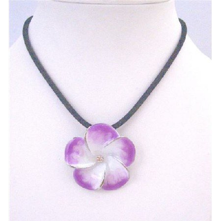 UNE166  Orchid Pendant Look Real In High Goodl Quality Black Velvet Chord Necklace