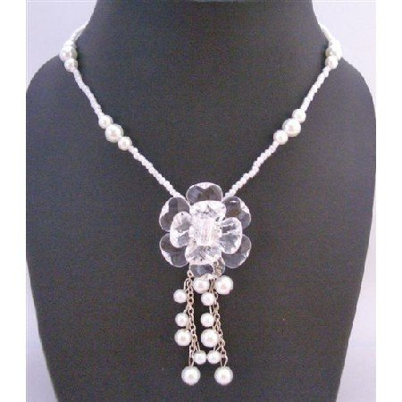 UNE150  Pure White Beads Pearls Necklacce w/ Immitation Glass Flower Dangling Pearls Necklace