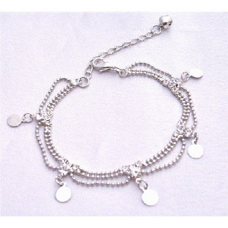 UBR197  Three Stranded Joined Bracelet Cubic Zircon Diamante Christmas Gift Dainty Elegant