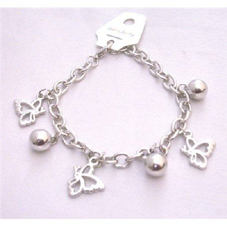 UBR192  Jingle Balls And Butterfly Charm Dangling High Quality Of Rhodium Chained