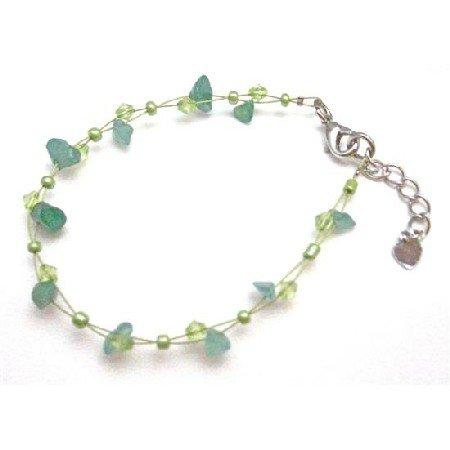 UBR180 Wedding Jewelry Flower Girl Jewelry Peridot Green Nugget Chips Green Beads Bracelet