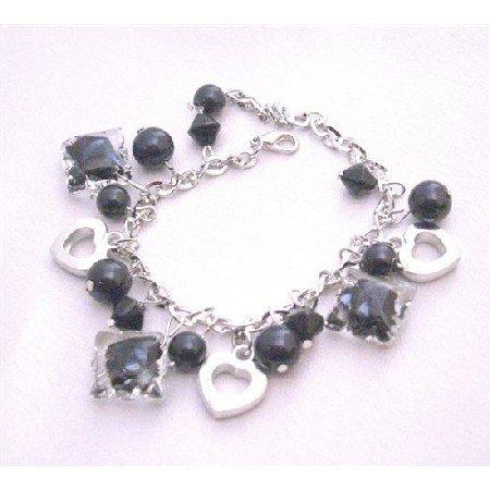 UBR176 Jewelry Black Crystals Black Pearls Dangling Bracelet Fabulous Bracelet