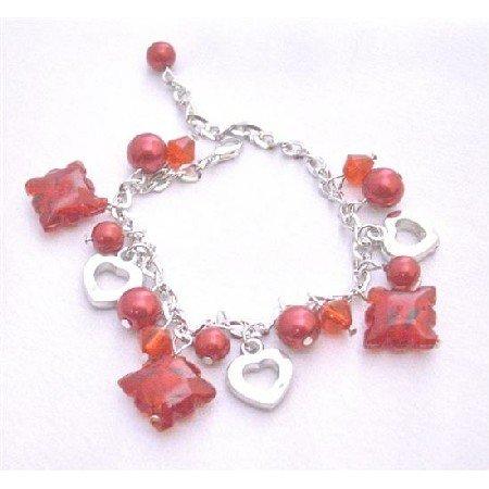 UBR171  Striking Red Charm Bracelet Red Pearls Red Crystals Heart Charm Gift Bracelet