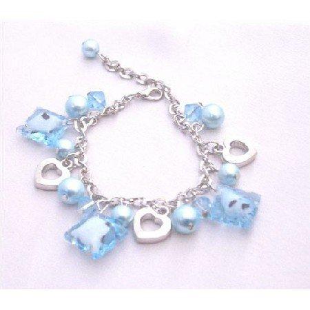UBR078  Blue Beads Dangling Bracelet Gorgeous Sexy! Bracelet Gift Under $10 Jewelry