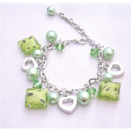 UBR071  Green Beads Dangling Bracelet Gorgeous Sexy! Bracelet