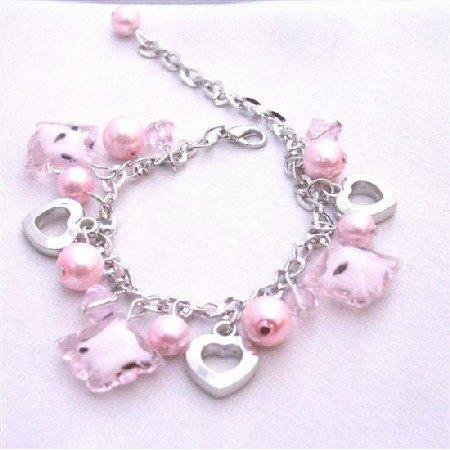 UBR061 Pink Jewelry Elegant Pink Bracelet Pink Pearls Pink Crystal Dangling Bracelet