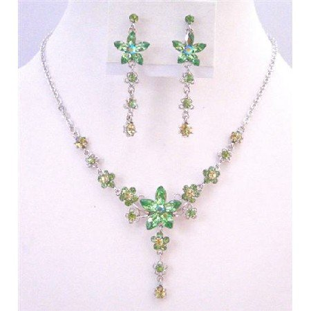 NS671 Peridot Crystals Necklace Set Evening Formal Party Jewelry Flower Decorated W/Green Crystals