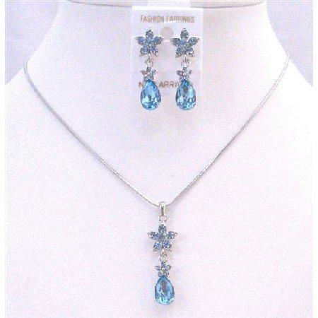 NS659 Aquamarine Blue Crystals Necklace Set Aquamarine Crystals Teardrop Flower Decorated
