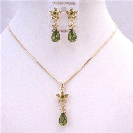 NS657 Golden Chain Necklace Set w/ Olivine Teardrop Golden Flower Decorated Evening Party