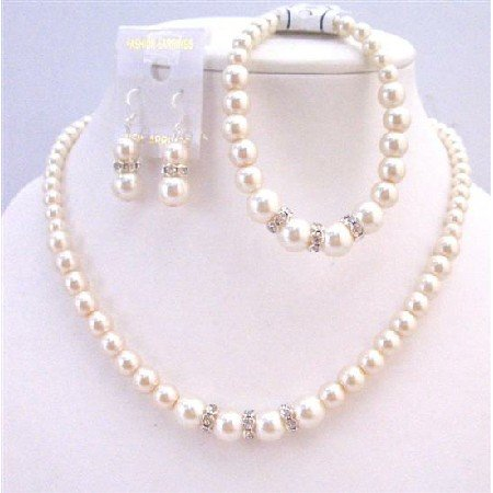 NS656 Bridal Wedding Ivory Pearls Jewelry Set W/ Silver Diamante Necklace Bracelet Set