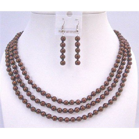 NS655  Three Stranded Brown Pearls Necklace Sets Affordable Wedding Jewelry Set