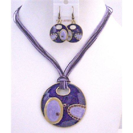 NS650  Ethnic Jewelry With Round Pendant Purple Amethyst Stylish Traditional Costume Jewelry