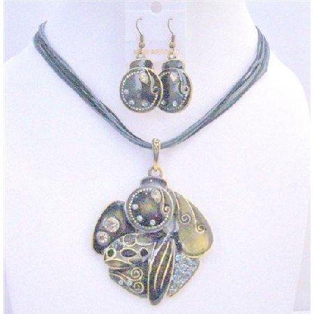 NS645 Black Grey Vintage Jewelry Multi Stranded Necklace w/ Painted Ethnic Pendant Earrings