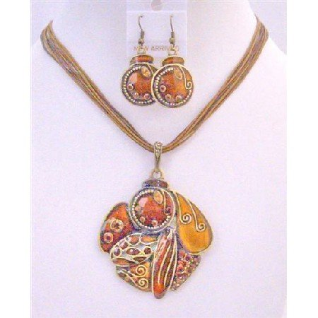 NS644 Evening Jewelry Party Jewelry Rust Color Smashing New Color Vintage Ethnic Jewelry Set