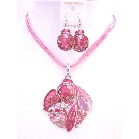 NS642  Multi Stranded Pink Necklace Set Vintage Gorgeous Artistically Designed Pink Necklace Set