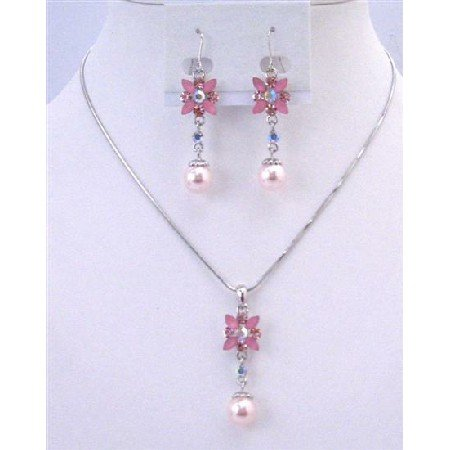 NS639 Bridemaids Jewelry Set Pink Pearls Rhinestone Wedding Necklace Set Flower Necklace Set