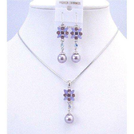 NS638 Purple Amethyst Wedding Jewelry Set Purple Enamel Flower Necklace Set w/ Pearls Dangling