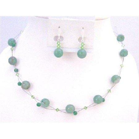 NS633 Wedding Jewelry Swarovski Peridot Crystals With Jade Glass Beads Necklace Set
