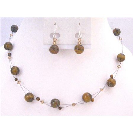NS630 Floating Illusion Necklace Set Swarovski Lite Colorado Crystals w/ Tiger Eye Glass Beads