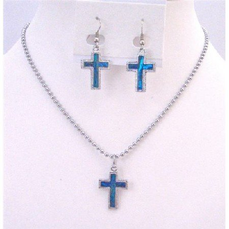 NS629 Cross Pendant Mother of Shell cross Pendant W/ Silver Outlined Cross Pendant Necklace Set