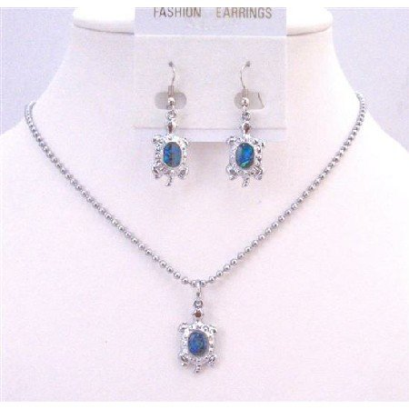 NS626  Cute Turtle Pendant & Earrings Dangling Necklace Set Mother Of Shell Abalone Coated