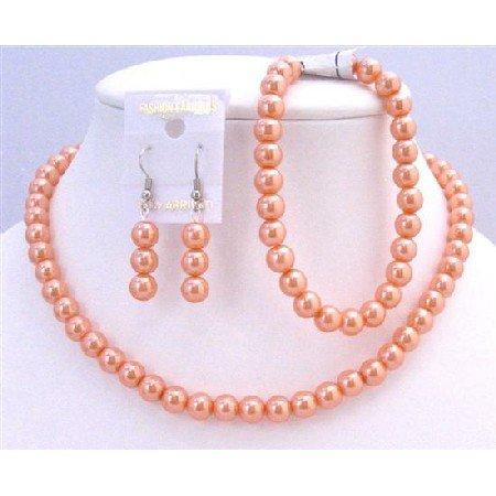 NS625  Striking Orange Pearls Complete Set With Bracelet Wedding Prom Jewelry Set Under $10
