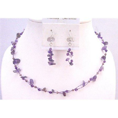 NS622  Amethyst Nugget Jewelry Affordable Gift Jewelry Set Amethyst Nugget Glass Beads