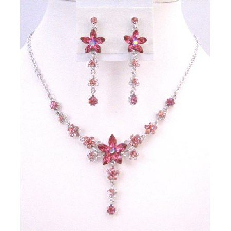 NS465  Fashion Crystals Jewelry Pink Crystals Dangling Necklace Earrings Set