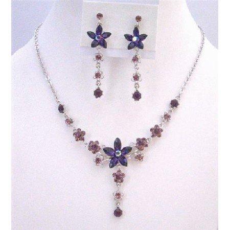 NS308  Amethyst Crystals Light & Dark Necklace Set Flower Design Jewelry Set