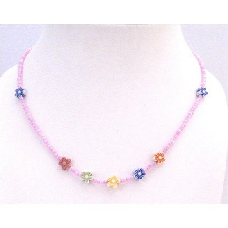 GC158 Return Gift Absolutely Beautiful Girls Necklace Tiny Pink Beads w/ Multicolored Flowers