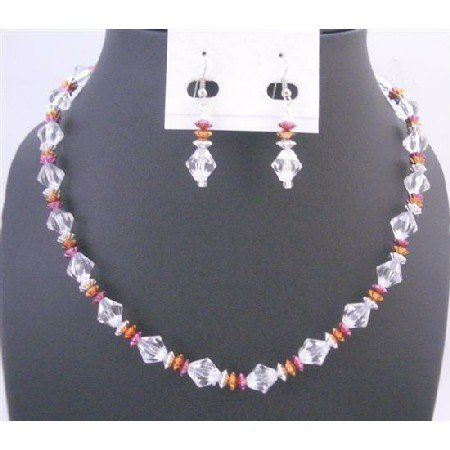 UNS040  Prom Wedding Bridal Bridemaids Jewelry Set Clear Crystals w/Tircolor Daisy Spacer Set