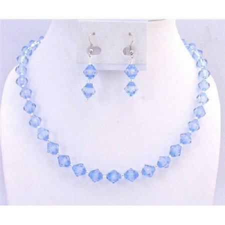 UNS038  Lite Blue Crystals Necklace Set Immitation Crystals w/ Silver Beads Spacer Set