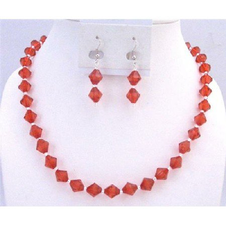 UNS036 Smashing Red Crystals Necklace Set Immitation Red Crystals Wedding Bridemaides Jewelry Set