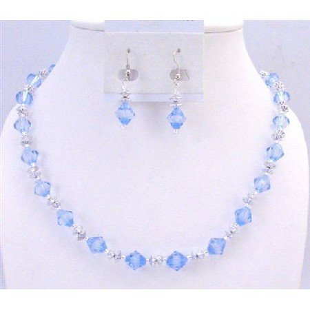 UNS034  Immitation Crystals 10mm Bicone With Spacer Beautiful Lite Blue Necklace Set