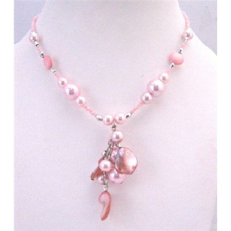UNE107  Sexy Pink Shell Choker Pink Cultured Pearls w/ Shell Dangling Necklace