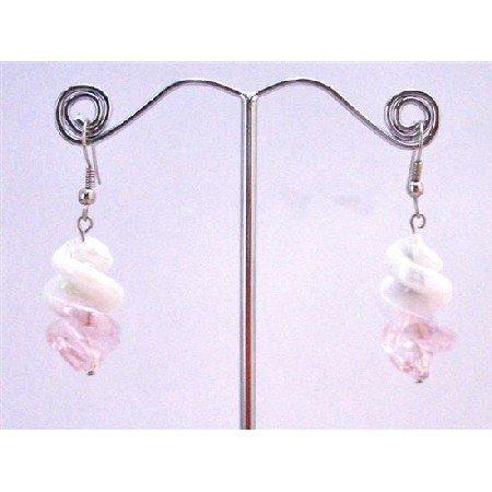 UER357  White/Pink Twisted Stylish Fashionable Earrings Fashionable Dangling Earrings