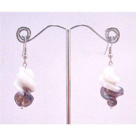UER356  Twisted Earrings White/Amethyst Trendy Earrings Fashionable Dangling Earrings