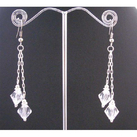 UER355  Clear Crystals Double Strings Chandelier Earrings With Bicone Silver Dangling Earrings