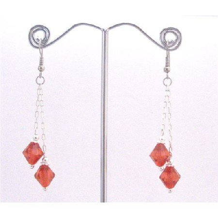 UER353  Striking Red Passionate Fashionable Chinese Crystals Dangling Earrings
