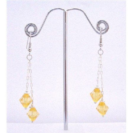 UER350  Yellow Crystals Dangling Earrings String Stylish Earrings Yellow Crystals Earrings