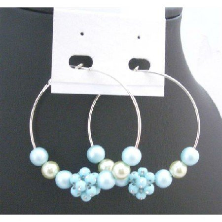 UER346  Very Beautiful Lite Blue Fancy Beads Earrings Fashionable Fabulous Hoop Earrings