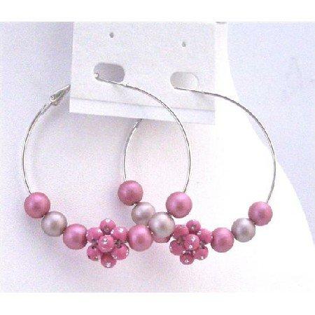 UER345  Pink Beads Hoop Earrings Beautiful Pink Fancy Beads Earrings Fashionable Hoop Earrings