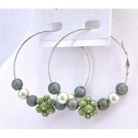 UER344  Fashionable Fabulous Hoop Earrings Dark Green Beads Hoop Earrings